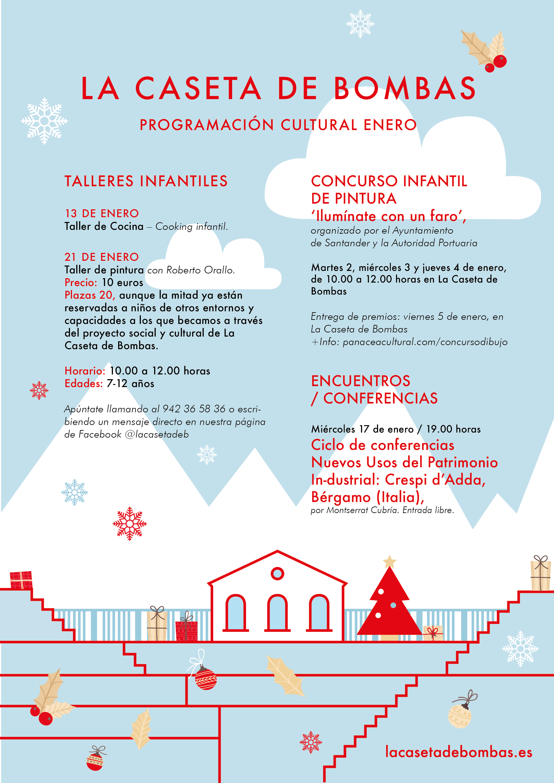 Cartel de la programación cultural de La Caseta de Bombas en enero